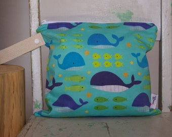 Whales, Stars and Fish Wet Bag - Premium Kona Cotton -  Waterproof Wet Bag Wetbag Swimsuit bag Nappy Bag Procare Liner