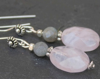 Sterling silver earrings with rosequartz and labradorite beads