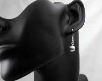 Simple Ball Earrings, Brushed Silver Earrings, Small Dangle Earrings, Geometric 3D Earrings, Plain Silver Earrings, Minimalist Earrings