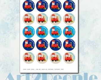 DIY Choo-choo train themed birthday party favor seals.