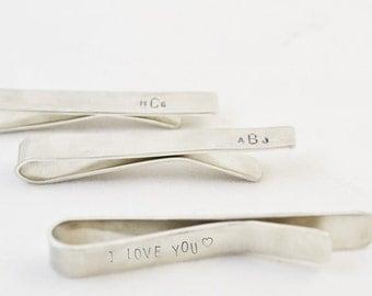 Hand Stamped Groomsmen Tie Clip/ Personalized Monogram tie bar