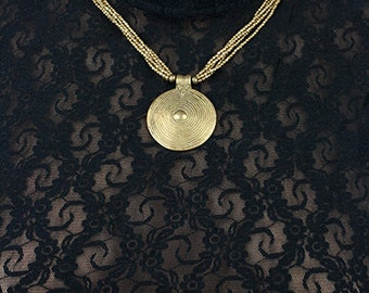Tribal Ethnic Boho beaded brass necklace (0001)