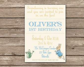 Peter Rabbit Birthday Party Invitation- 5 x 7 inch Printable File