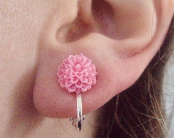 Pink Dahlia Chrysanthemum Mum Flower Clip on Earrings