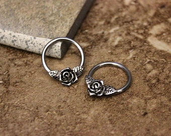 Daith Piercing,Nipple Ring Hoop,Conch Hoop,Helix Hoop,Cartilage Hoop,Septum Ring,Rose Flower 316L Surgical Steel CBR 14G 16G, Sold Single