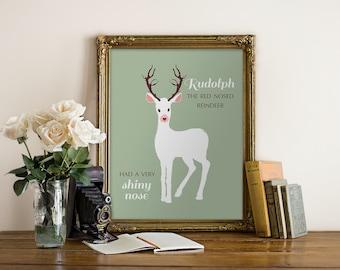 Rudolph the Red Nosed Reindeer print, Chrismas wall print, Holiday art printable, kids printable Rudolph print
