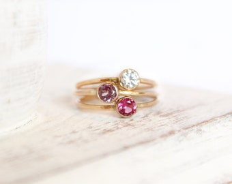Any Three Birthstone Rings - Gemstone Ring 14k Gold Fill or Sterling Silver Stacking Rings Birthstone Jewelry Bridesmaids Gift Mothers Ring