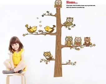Brown Tree wall decal - Owls and Birds - Home Decor - Kids Wall Sticker - Nursey Decor