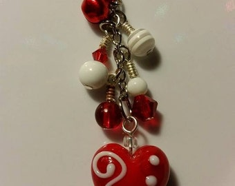 Valentines Cell Phone Charms! Hearts, Pink, Red, White
