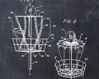Disc Golf Patent Print - Patent Art Print - Patent Poster - Frisbee Golf - Frisbee Art - Disc Golf Basket - Disc Art