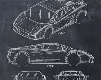 Patent Print of a Lamborghini - Patent Art Print - Patent Poster - LAMBO - Car - Auto - Automobile