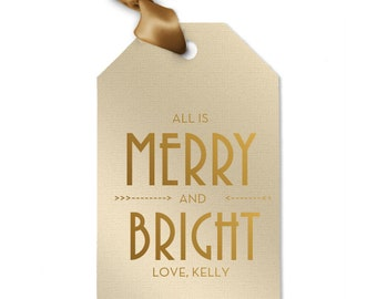 Merry and Bright Gold Personalized Holiday Gift Tags