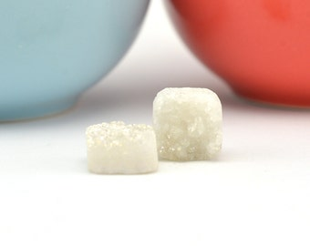 White Druzy Beads | White Square Druzy |12mm Druzy Beads | Drilled Druzy Quartz | 2 White Drilled Druzy Beads