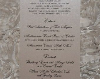 Wedding Menu, Shimmer Wedding Menu, Thermography, Elegant Wedding Menu
