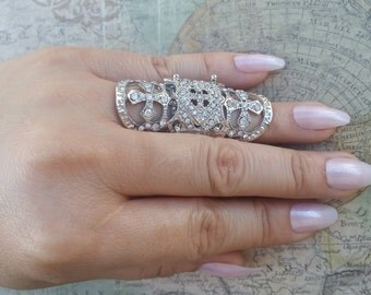 Statement Ring, Long Finger Ring, Double Knuckle Ring, Armour Statement Ring, Long Ring, Large Ring