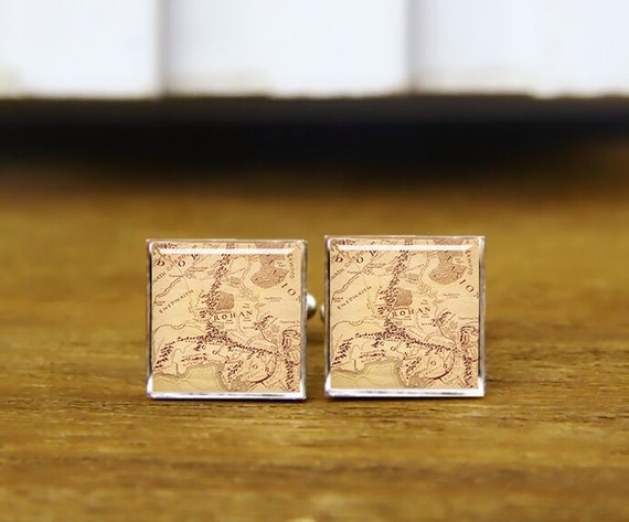 vintage map, cusotm movie map cufflinks, game map, custom round or square cufflinks, tie tack, wedding cufflink, groom cuff links, tie clips