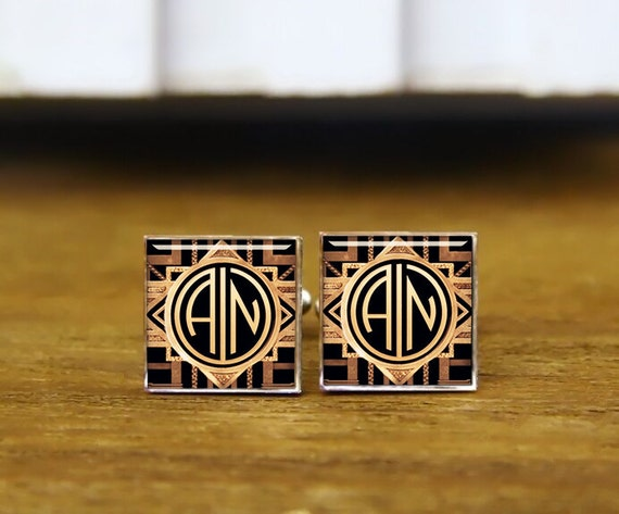 custom initial cufflinks, 1920s film style, custom 2 letter round or square cufflinks & tie clip, personalized wedding cufflinks, groom gift