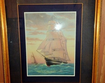 "Athos Menaboni Large Framed Lithograph Nautical Ship ""Enterprise"" 43"" x 36"" Rare"