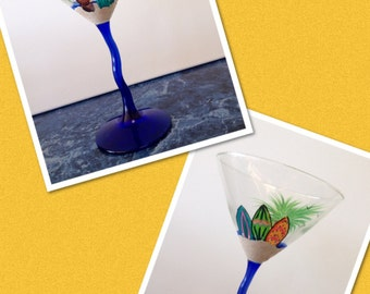 Hand Painted Surf Board Martini Glass