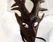 stag mask brown dark leather costume deer hart cosplay larp renaissance wicca pagan magic burning man fantasy Baratheon game of throne