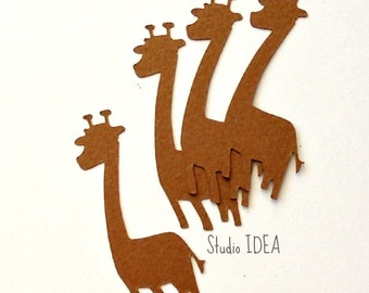 60 Brown 2in Giraffe Confetti, Cut-outs, Giraffe decoration, Embellishments - Set of 60 pcs - or Choose Your Colors