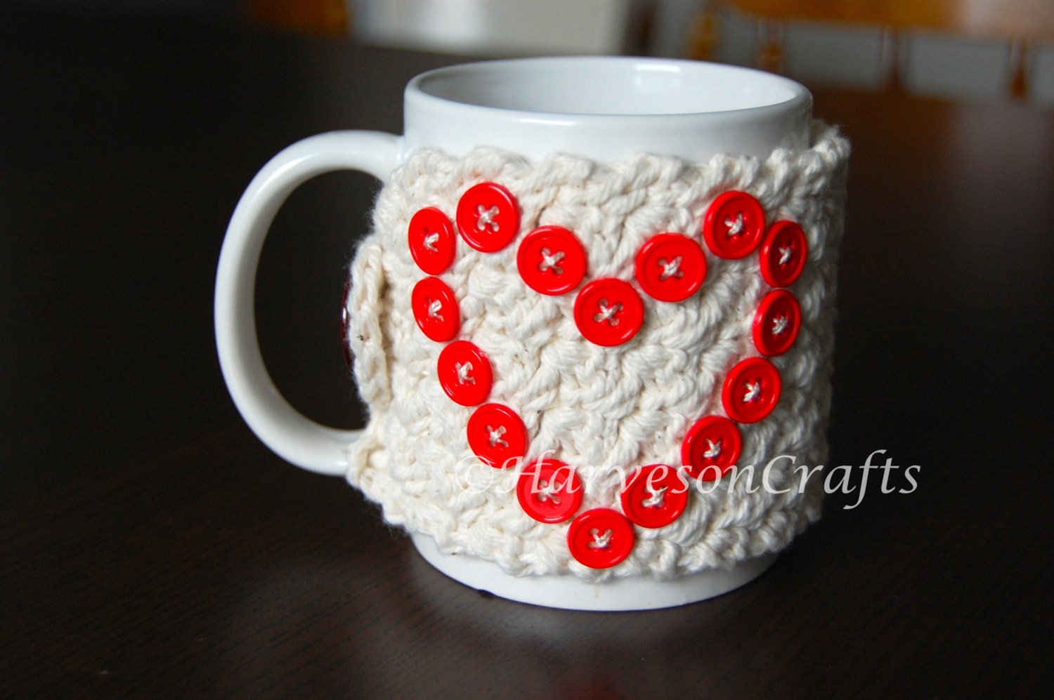 Coffee Cup Cozy Crochet Cozy Heart Cozy Red by HarvesonCrafts