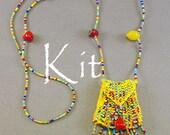 Brigitte Kit, a beaded knit necklace purse amulet bag (Fruit beads/yellow thread)