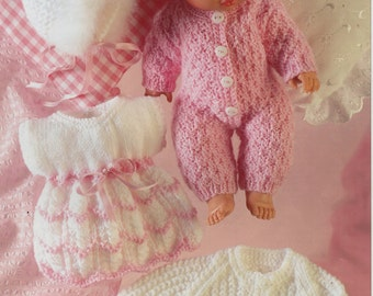 Baby Dolls Knitting Pattern , dolls clothes, outfit , dress, bootees,all in one, jacket, bonnet - 14 inch doll - DK - PDF instant download