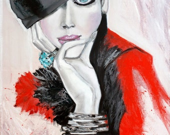 Original Oil portrait painting Woman Stranger Modern Art