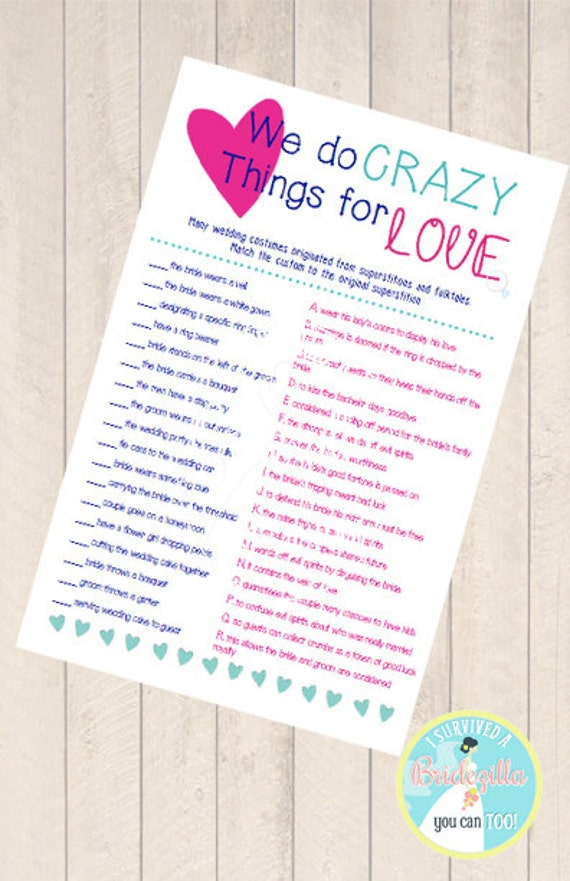 Items similar to we do crazy things for love bridal for Top things to register for wedding