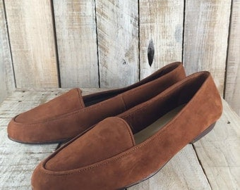 Brown Suede Shoes - Womens SIZE 11 Shoes - Borelli Suede Flats - Walking shoes - Slip on Shoes for Women, brown casual shoes, suede flats