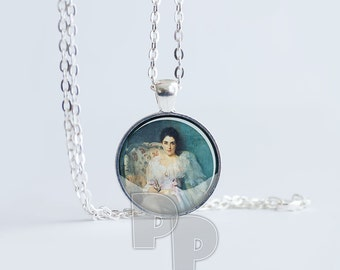 Vintage Victorian Lady painted art pendant painterly old world female charm