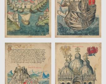 Vintage Style Postcard set  Mysteryland - 14 Cards,  A031