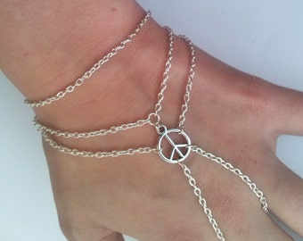 Peace Slave Chain Bracelet , Slave Bracelet , Hippie Bracelet , Peace Sign Bracelet , CND Bracelet , Handmade Jewelry , Bohemian Jewelry