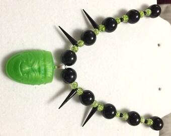 Green Resin Tiki Necklace