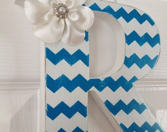Chevron hand painted wood letter; hanging wall letters; kids room decor; nursery wall decor; nursery gift