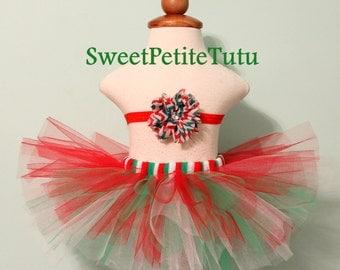 Red, green and white tutu set, Tutu with headband, Christmas or holiday tutu set, Preemie, Newborn to 10/12 girl's tutu, Sweet Petite Tutu