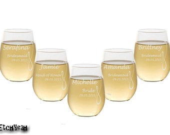 7 Custom Etched Stemless Wine Glasses / 16 DESIGNS! / Personalized Wedding Party Gifts / Bridesmaids / Groomsmen