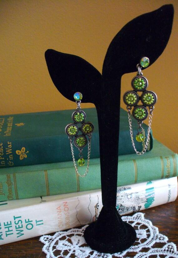 Lime Bead &Crystal Dangling Earrings, Green Earrings, Silver Chain Earrings, Drop Earrings, Green Drop Earrings, Marjorie Mae