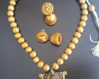 Terracotta Jewelry - Terracotta necklace and jhumka set - Temple design - Ganesha Necklace set.