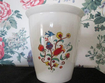Vintage Hyalyn Pottery Vase Painted With Fruits and Flowers