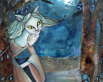 The Cat Lady of the Forest - Art print