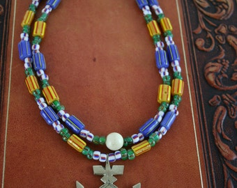BoHo Chic African TradeBeads and Ethnic Cross Necklace