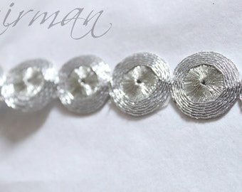Silver Circular-Round Cut work Sari Border Trim Indian Craft Ribbon Sewing Gift Wrapping Lace AN0086
