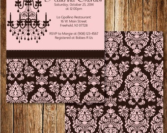 Damask Baby Girl Shower Invitation