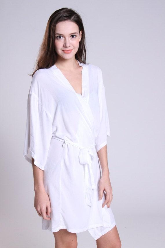 White cotton robe dressing gown honeymoon bridesmaid Wedding