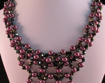 Pearl and Crystal Right Angle Weave Necklace and Earrings