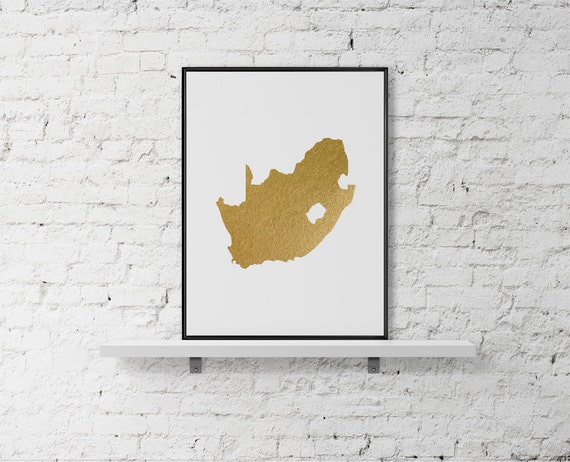 Gold foil South Africa map printable map wall art South
