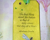 Dragonfly Bookmark, Gift Card Holder, Tag with Bright Colors and Abraham Lincoln Quote