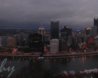 Rainy Pittsburgh Autumn Panorama of City Skyline